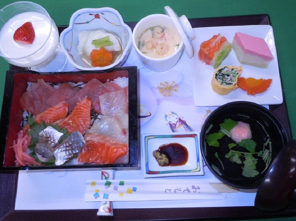 シルバーシティ聖蹟桜ヶ丘の昼食一例(特別食 誕生日会)