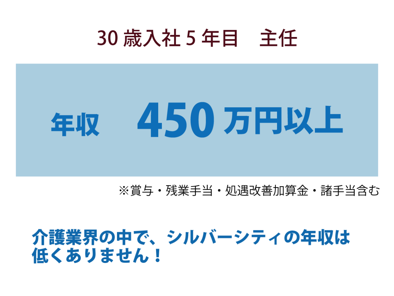 正社員(30歳5年目主任)の年収450万円以上