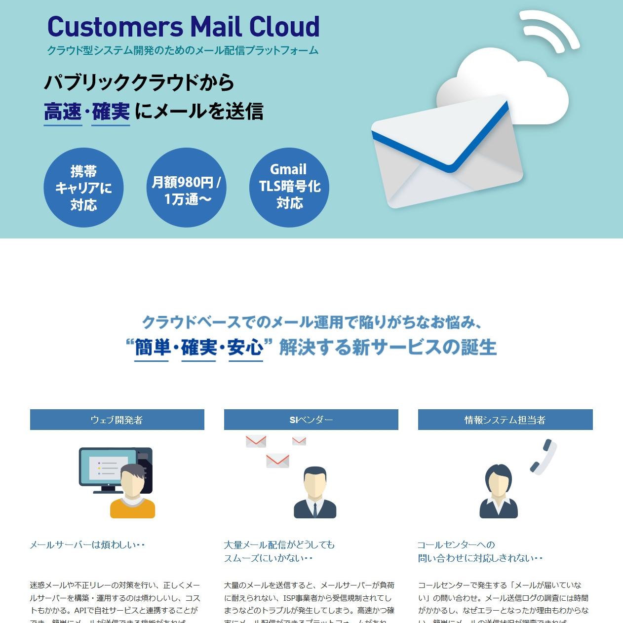 Customers Mail Cloud ランディングページ